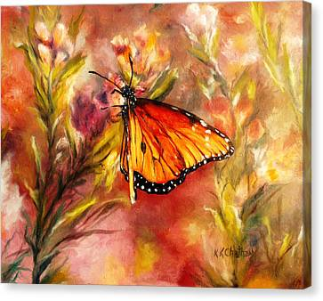 Canvas Print featuring the painting Monarch Beauty by Karen Kennedy Chatham