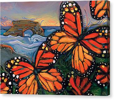 Monarch Butterflies At Natural Bridges Canvas Print by Jen Norton