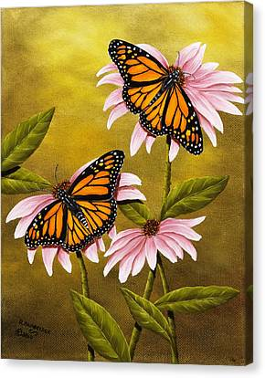 Coneflower Canvas Print - Monarchs And Coneflower by Rick Bainbridge