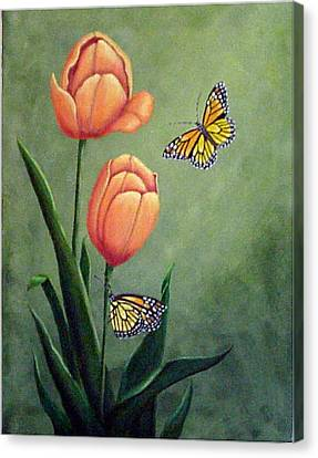 Monarchs And Golden Tulips Canvas Print by Fran Brooks