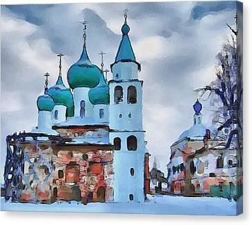Monastery Construction Canvas Print by Yury Malkov