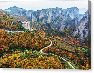 Monastery Perched On A Cliff Canvas Print