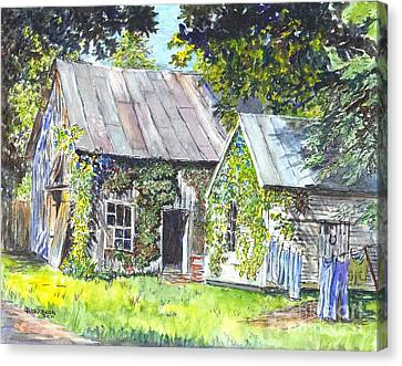 Old Shed Canvas Print - Monday Monday Not Just Any Day by Carol Wisniewski