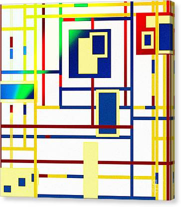 Web Gallery Canvas Print - Mondrian Color Teraphy by Celestial Images