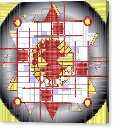 Mondrian Plaid Fx Canvas Print by Mario Carini
