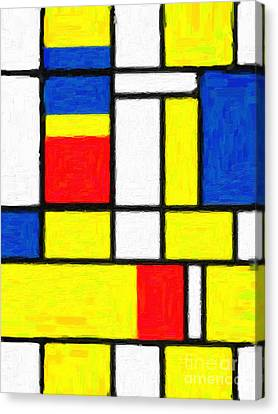 Web Gallery Canvas Print - Mondrian Rectangles  by Celestial Images