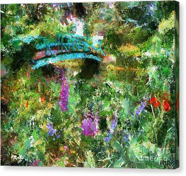 Monet's Bridge In Spring Canvas Print by Dragica  Micki Fortuna