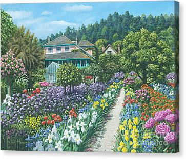 Flowering Canvas Print - Monet's Garden by MGL Meiklejohn Graphics Licensing
