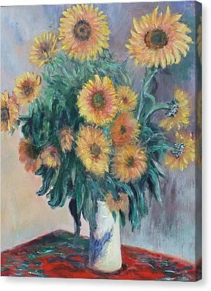 Monet's Sunflowers Canvas Print