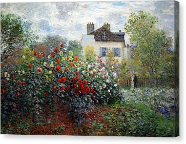 Canvas Print featuring the photograph Monet's The Artist's Garden In Argenteuil  -- A Corner Of The Garden With Dahlias by Cora Wandel
