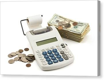 Money And Calculator On White Background Canvas Print