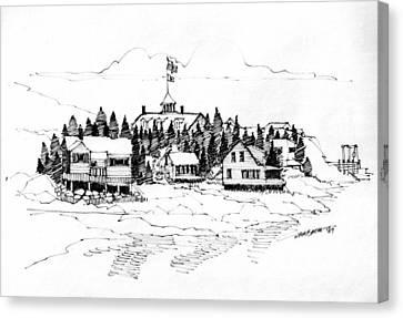 Monhegan Village 1987 Canvas Print