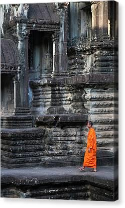 Angkor Thom Canvas Print - Monk At Angkor Thom, Cambodia, A Unesco by Keren Su