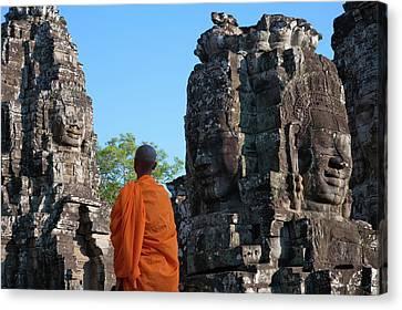 Angkor Thom Canvas Print - Monk At Bayon Temple, Angkor Thom by Keren Su