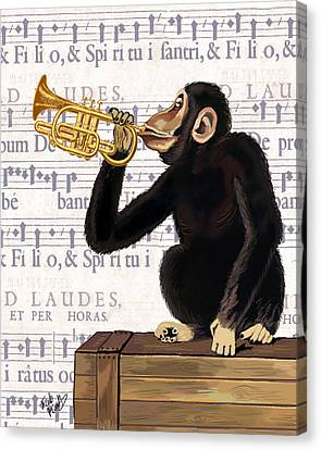 Monkey And Trumpet Canvas Print by Kelly McLaughlan