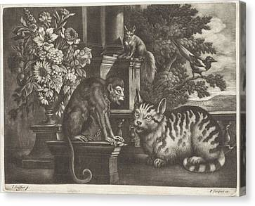 Monkey, Cat, Squirrel And Magpie, Jan Griffier Canvas Print by Jan Griffier I And Francis Barlow And Pierce Tempest