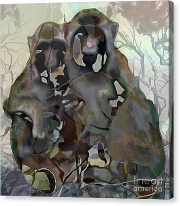 Canvas Print featuring the painting Monkey Love by Ursula Freer