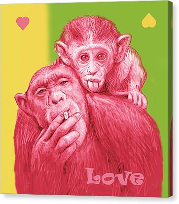 Monkey Love With Mum - Stylised Drawing Art Poster Canvas Print by Kim Wang