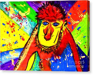 Monkey Pop Art Canvas Print by Julia Fine Art And Photography