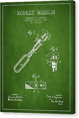 Monkey Wrench Patent Drawing From 1883 - Green Canvas Print by Aged Pixel