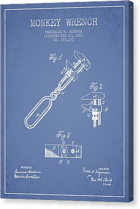 Monkey Wrench Patent Drawing From 1883 - Light Blue Canvas Print by Aged Pixel