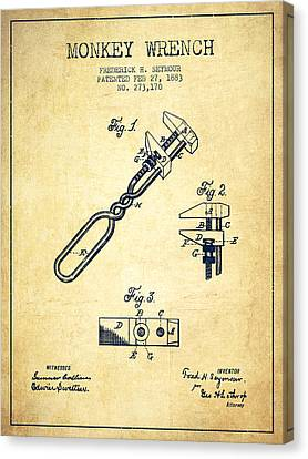 Monkey Wrench Patent Drawing From 1883 - Vintage Canvas Print by Aged Pixel