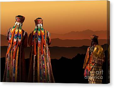 Monks From Bhutan Canvas Print