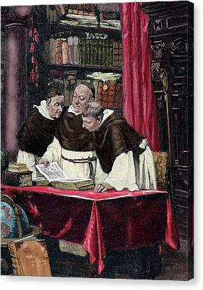 Monks Reading A Copy Of The Gutenberg Canvas Print
