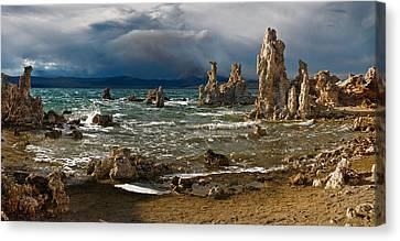 Mono Lake Stormy Panorama Canvas Print by Dave Dilli