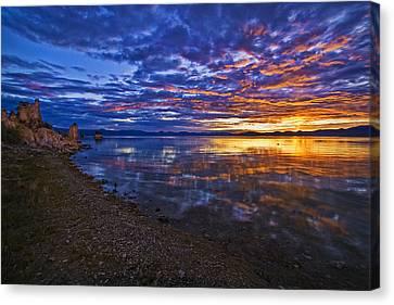 Canvas Print featuring the photograph Mono Lake Sunrise by Priscilla Burgers