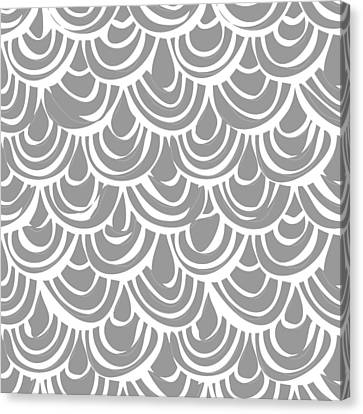 Fresh Canvas Print - Monochrome Scallop Scales by Sharon Turner
