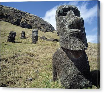 Monolithic Statues At Rano Raraku Quarry Canvas Print by English School