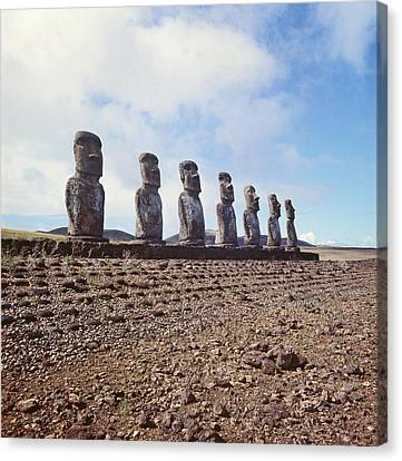 Monolithic Statues On Ahu Akivi Canvas Print by American School