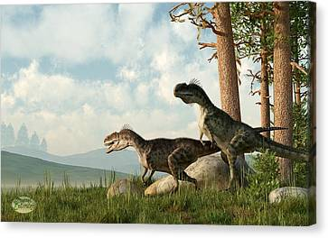 Monolophosaurs On The Hunt Canvas Print