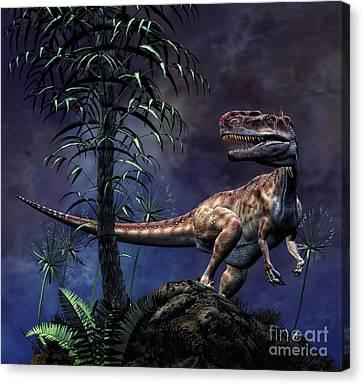 Monolophosaurus Was A Theropod Dinosaur Canvas Print
