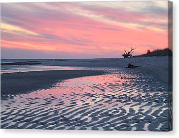Monomoy National Wildlife Refuge Cape Cod Tidal Flats Sunset Canvas Print by John Burk