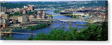 Monongahela River Pittsburgh Pa Usa Canvas Print by Panoramic Images