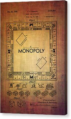 Monopoly Board Game Apparatus From 1935  Canvas Print by Eti Reid