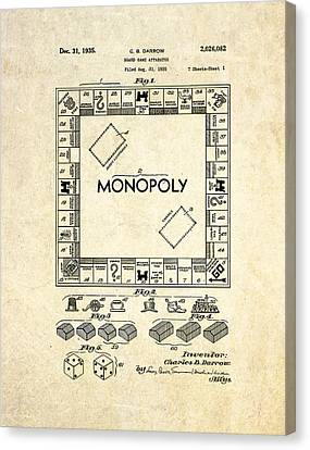 Monopoly Board Game Patent Art Canvas Print by Gary Bodnar