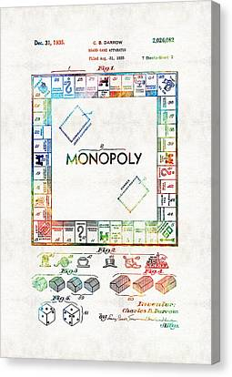 Monopoly Game Board Vintage Patent Art - Sharon Cummings Canvas Print by Sharon Cummings