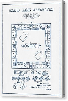 Monopoly Patent From 1935 - Blue Ink Canvas Print by Aged Pixel