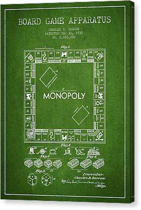Monopoly Patent From 1935 - Green Canvas Print by Aged Pixel