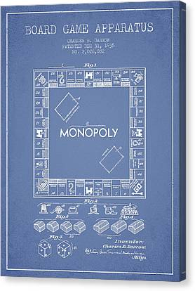 Monopoly Patent From 1935 - Light Blue Canvas Print by Aged Pixel