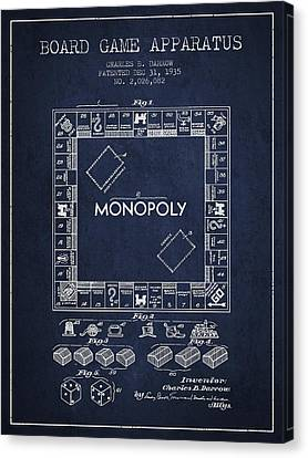 Monopoly Patent From 1935 - Navy Blue Canvas Print by Aged Pixel