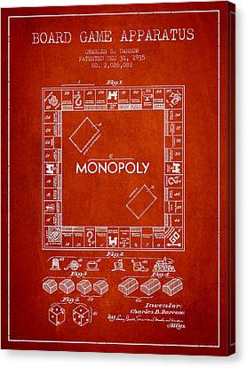 Monopoly Patent From 1935 - Red Canvas Print by Aged Pixel