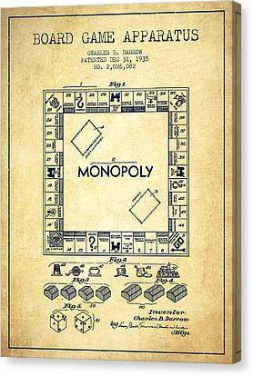 Monopoly Patent From 1935 - Vintage Canvas Print by Aged Pixel