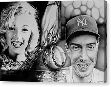 Canvas Print featuring the drawing Monroe And Dimaggio by Geni Gorani