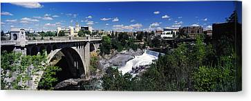 Monroe Street Bridge With City Canvas Print by Panoramic Images