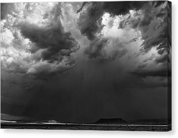 Monsoon Afternoon - Black And White New Mexico Desert Photograph Canvas Print