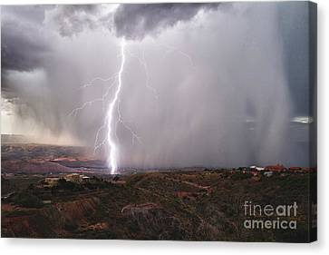 Canvas Print featuring the photograph Monsoon Lightning Hits Clarkdale Arizona As Seen From Jerome by Ron Chilston